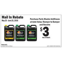 Parts Master Antifreeze & Coolant Rebate